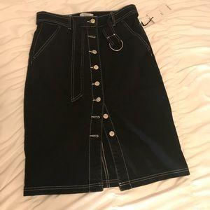 NWT Forever 21 black denim mid-length skirt